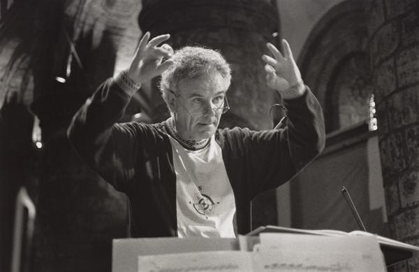 Sir Peter Maxwell Davies, 1934 - 2016. Composer. (Conducting rehearsals at 'Cross Lane Fair', St Magnus Festival, Kirkwall Cathedral, Orkney) (1994, 18 June)