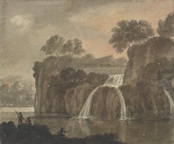 Landscape with a Waterfall and Three Fishermen (About 1780)