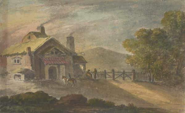 A Picturesque Cottage with Peasants and a Rider