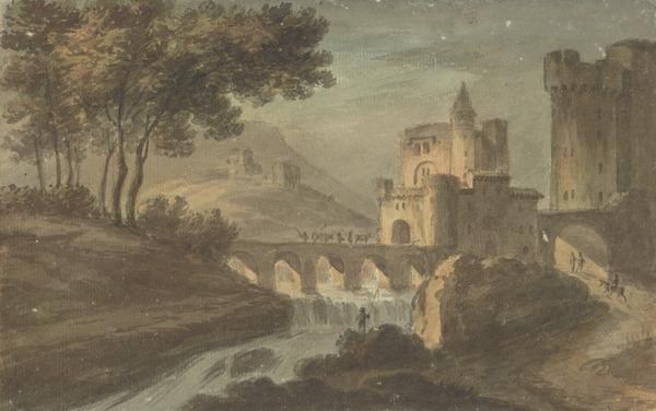 Landscape with a Castle and a Bridge over a Waterfall (About 1780)