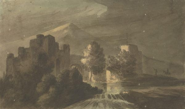 Moonlit Landscape with a Castle, a Shallow Waterfall and Two Figures (One On Horseback) in the Distance (About 1780)