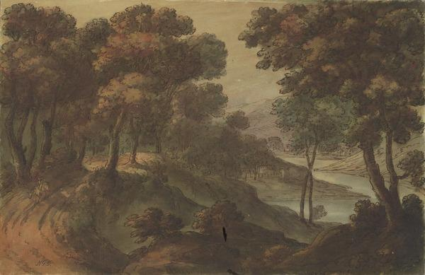 River Landscape with a Road through a Forest and a Rider to the Left (About 1780)