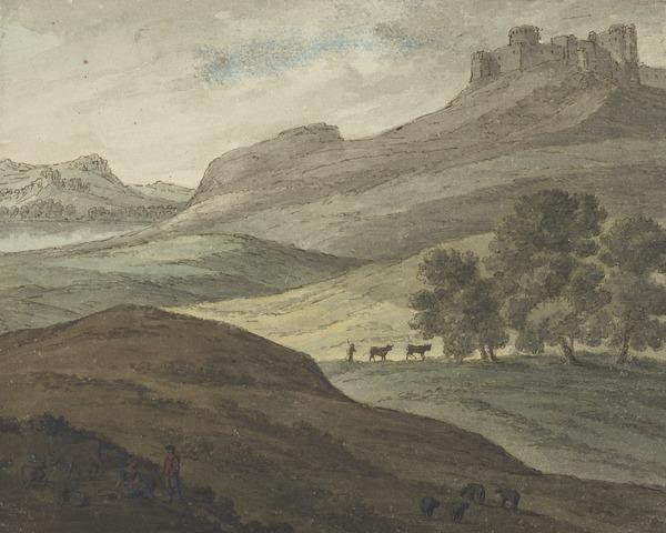 Landscape with a Castle, Lake and Farm Animals (About 1780)