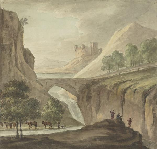 Landscape with a Bridge over a River and a Castle on a Hill Beyond - In the Foreground, Cattle and Figures (1784)
