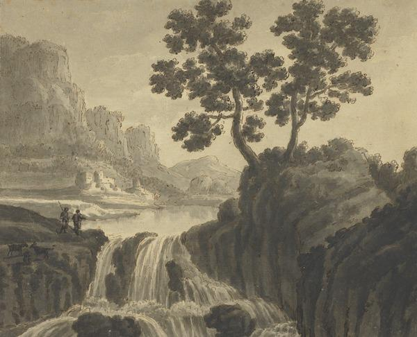 Rocky Landscape with a Lake and a Cascade and Two Herdsmen (About 1780)