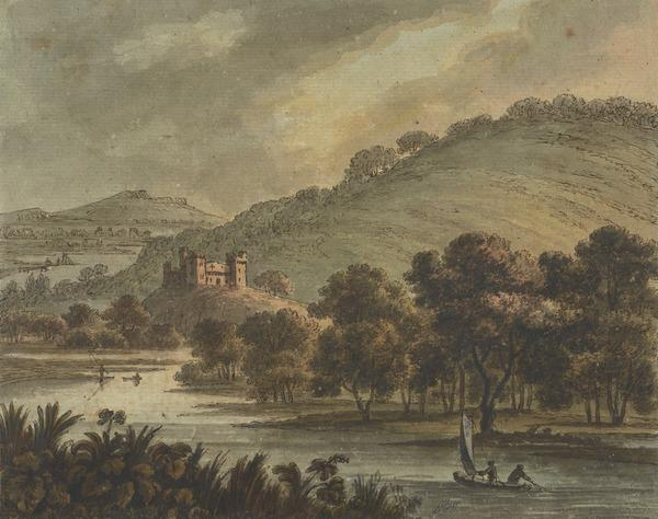 Landscape with a River and Castle and a Sailing Boat in the Foreground (About 1780)