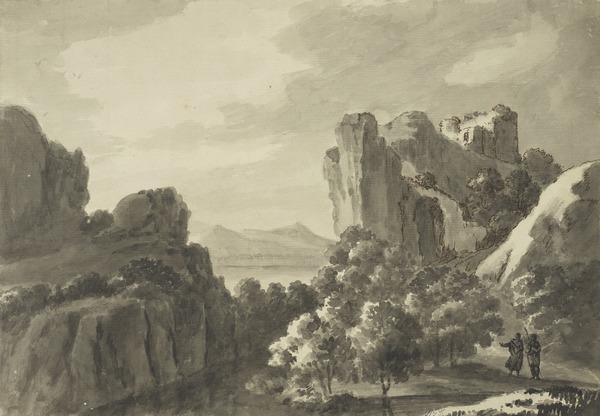 Landscape with a Ruined Castle on a Rock and Two Classical Figures in the Foreground (About 1780)
