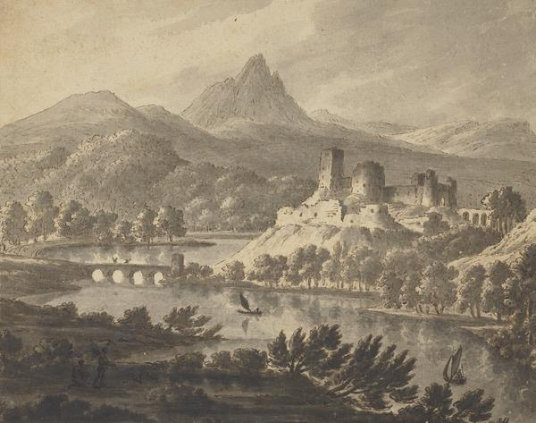 A Castle by a River with Mountains Beyond - In the Middle Distance, a Stone Bridge and in the Foreground, Two Sailing Boats and Figures (About 1780)