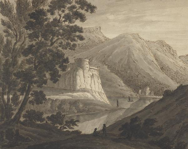 Mountainous Landscape with a Castle and a Temple by a Lake - Two Sailing Boats on the Water and Two Fishermen in the Foreground (About 1780)