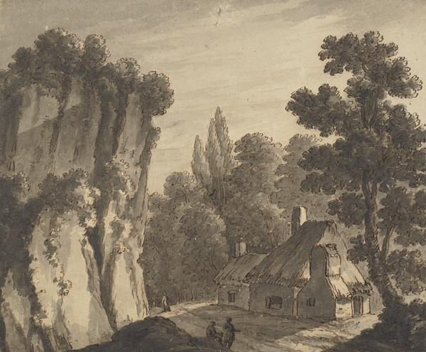 Woody Landscape with a Cliff, Cottage and Figures (About 1780)