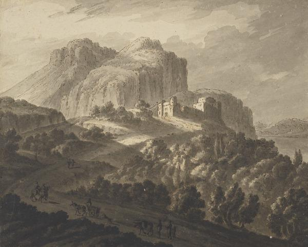 A Mountainous Landscape with Strong Light and Shadows with a Castle, Trees, a Lake and Figures with Cart and Horses (About 1780)