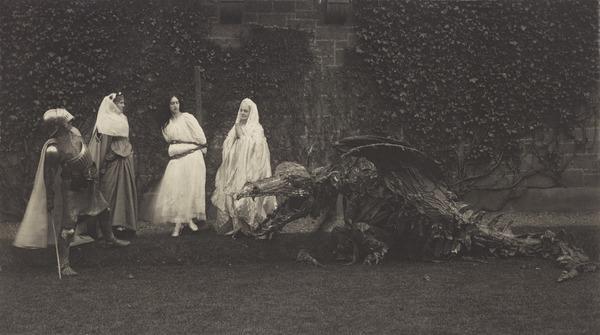 'Masque of St George and the Dragon'  Mr Walter Crane, Mrs Walter Crane, Miss Cecile Walton, Mrs E.A. Walton