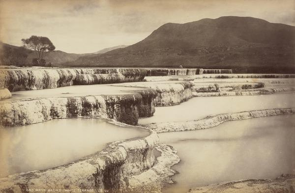 Cold Water Basins, White Terrace, Lake Rotomahana (About 1885)