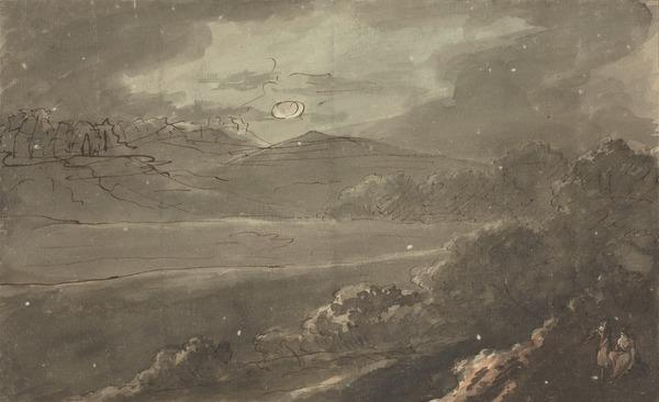 A Moonlit Landscape with Two Female Figures to the Right (About 1780)