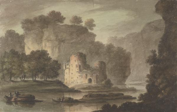Ruined Castle on a Lake, with a Barge, Boats and Figures (About 1780)
