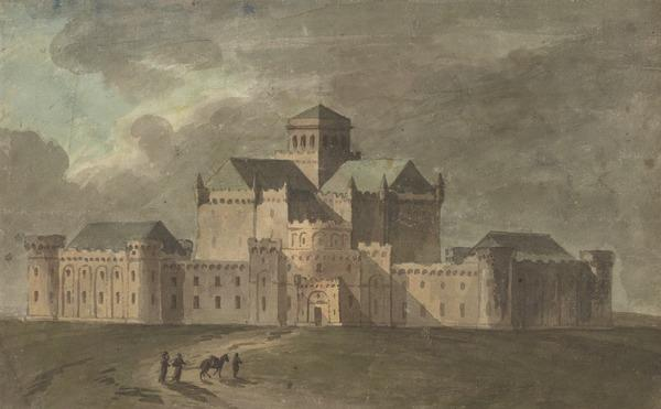 A Fortified Castle or Palace, Surrounded by a High Wall, Corner Towers and a Central Gateway (Barnbougle Castle) (About 1775)