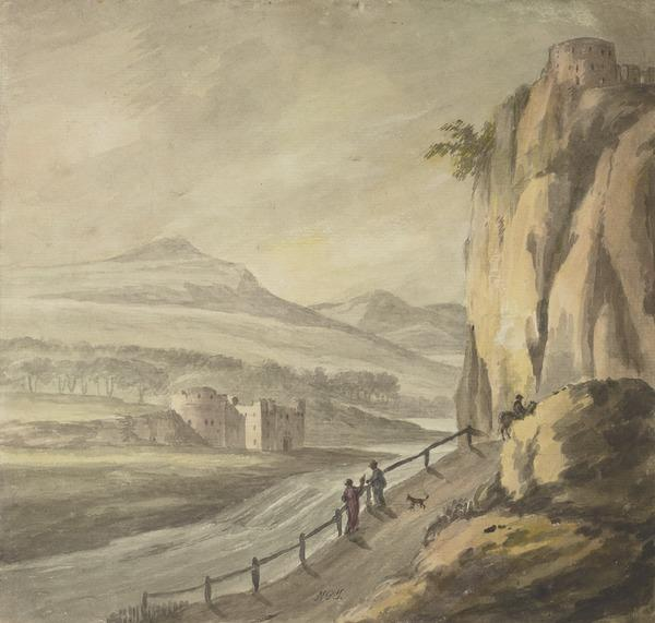 Landscape with a Castle on a Cliff on the Right and Another Castle on the Opposite Side of the River (1784)