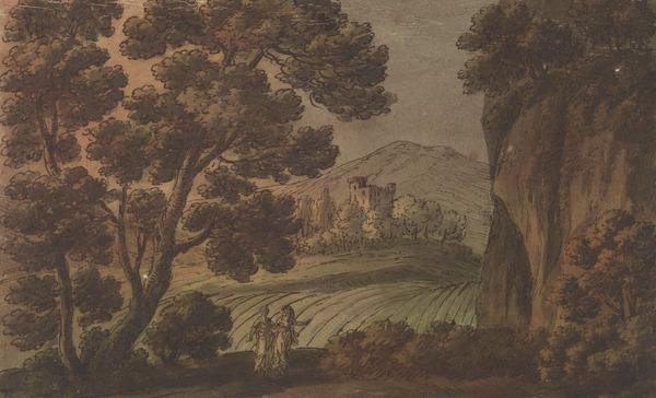 Landscape with Trees and a Castle in the Middle Distance - Two Female Figures in Classical Dress in the Foreground (About 1780)