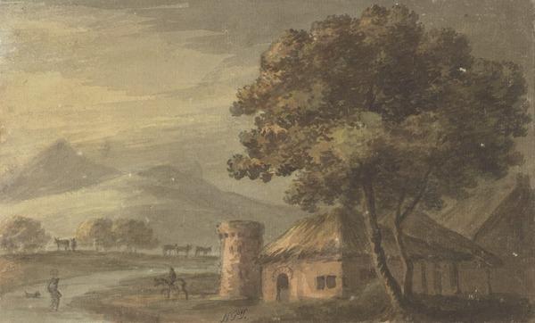 Landscape with a Cottage Next to a Tower - Distant Mountains, Cattle and Figures (About 1780)