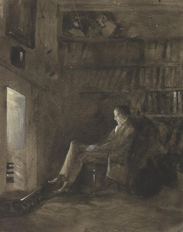 'Alone'. A Man Sitting Before an Open Fireplace