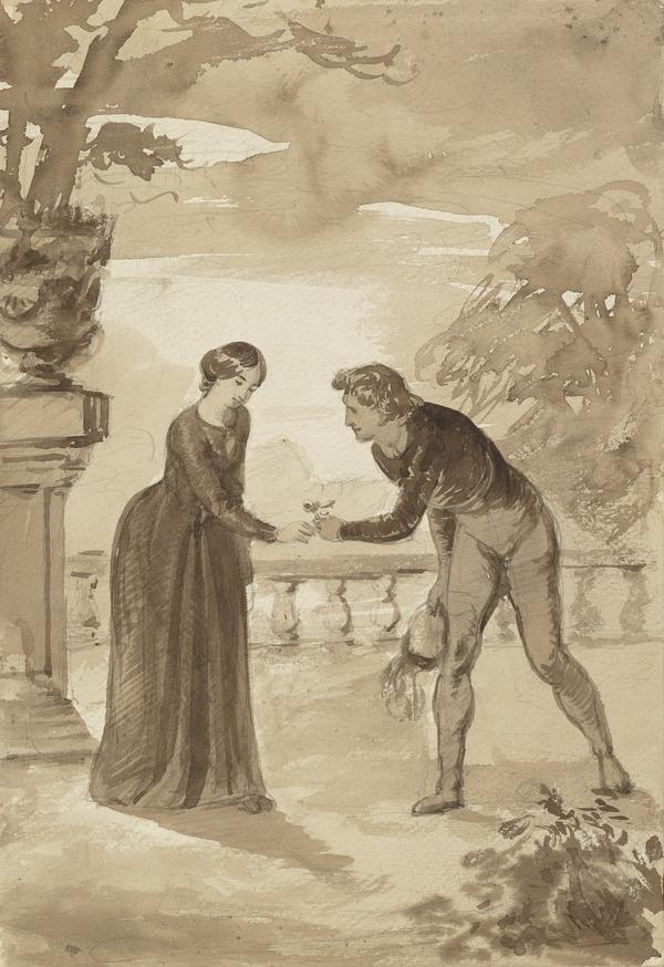 'The Lover's Gift': A Man Giving Flowers to a Woman