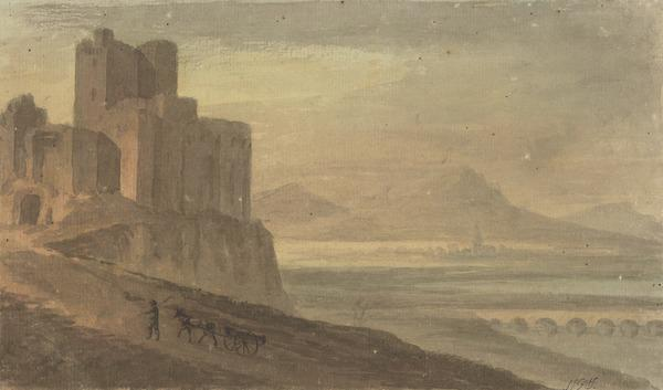 A Castle on a Cliff Overlooking a Wide Valley with a Lake, a Small Town and Mountains in the Distance - A Peasant with Horse and Cart in the... (About 1780)