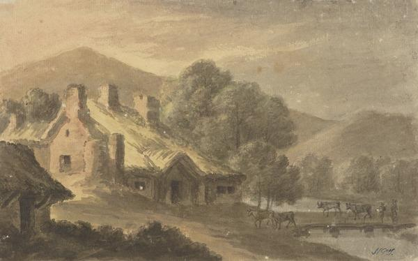 Landscape with a Thatched Cottage - On the Right, Cattle Crossing a River or Lake (About 1780)
