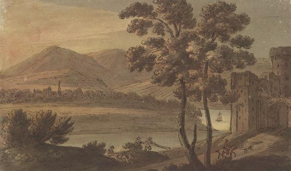 Mountainous Landscape at Sunset with a Castle on the Extreme Right - Fishermen at the River and Other Figures (About 1780)