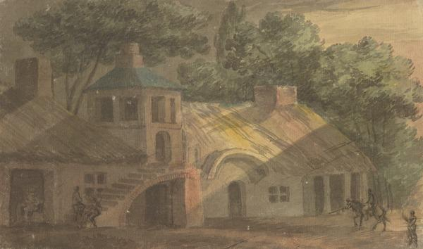 A Cottage or Inn among Trees, with Outside Staircase Leading to a Central Tower (About 1780)