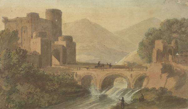 Landscape with a Castle and a Stone Bridge Across a River. A Rider and Fishermen (About 1780)