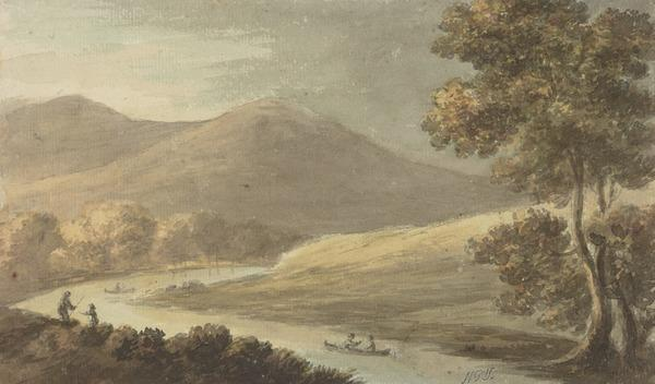 A River with Boats and Figures in a Hilly Landscape (About 1780)