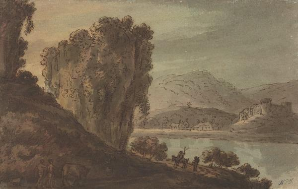 Craggy Landscape with a Castle on a Hill on the Far-Side of a Lake (About 1780)