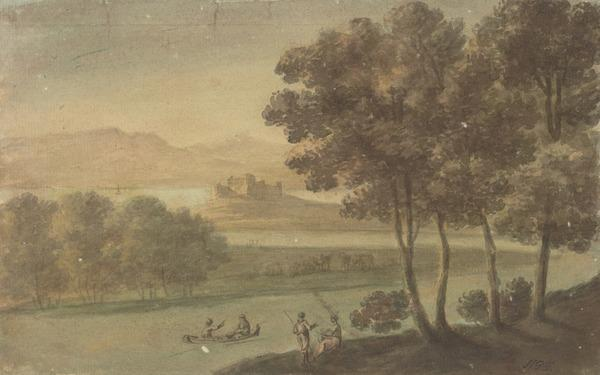 A River Landscape with a Castle in the Middle Distance - A Boat and Two Anglers in the Foreground (About 1780)