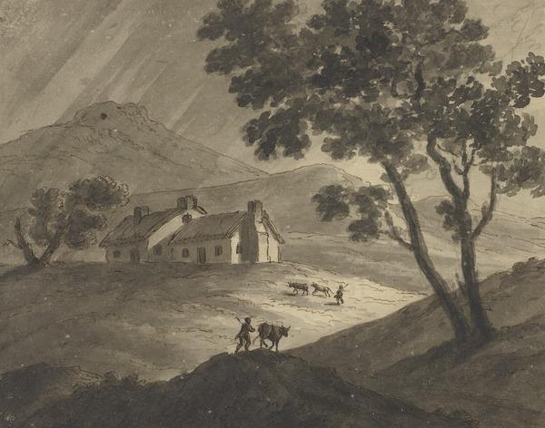 Landscape with Rainy Sky and Two Herdsmen Driving Cattle towards a Farmhouse - In the Right Foreground, a Tall Tree (About 1780)