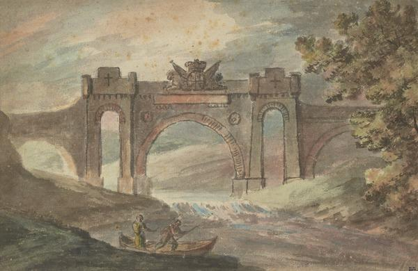 A Castellated Bridge Bearing the Royal Arms - With a Rowing Boat and Two Figures (About 1780)