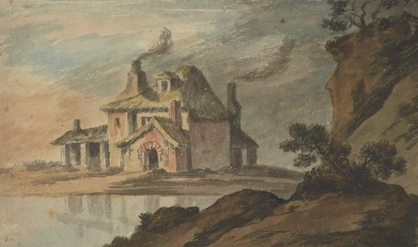 A Picturesque Thatched Cottage by a Lake (About 1780)