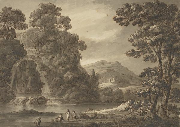 Landscape with a Waterfall, Castle and Bathers (About 1780)