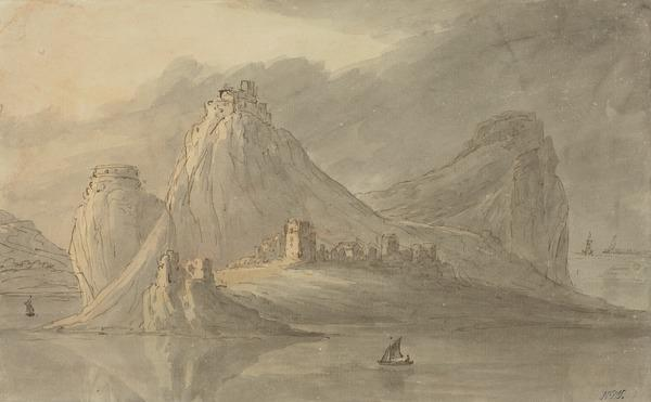 A Rocky Island with a Village and Castles on Peaks (About 1780)