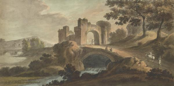 A Landscape with a Ruin of a Castle Gateway and Bridges over a River - Three Soldiers and Two Female Figures, One on Horseback (About 1780)