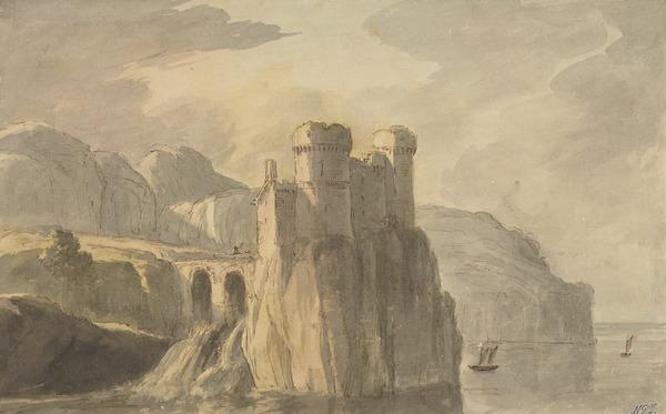 A Castle Ruin on a High Cliff by the Sea, with Sailing Boats (About 1780)