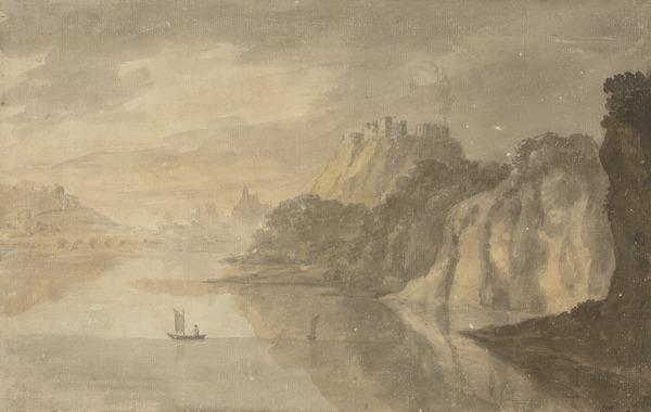 A Lake with a Castle, Bridge and Sailing Boats (About 1780)