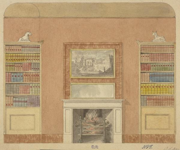 Design for a Library Wall with a Chimney Piece and Overmantel (with a Roman 'Vedute') (About 1815)