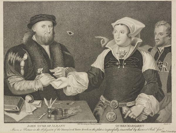 Queen Margaret (Tudor), 1489 - 1541. Queen of James IV (with John Stewart, Duke of Albany, 1481 - 1536. Regent of Scotland) (Published 1799)