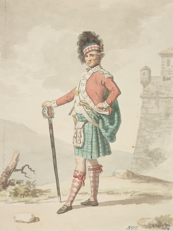 A Kilted Highland Officer with his Broadsword (About 1785)