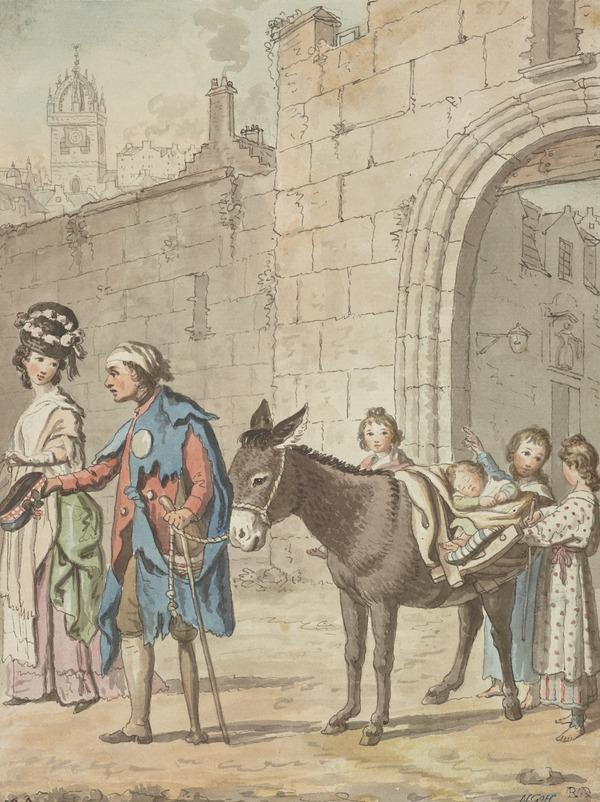 A Peg-Legged Beggar, with Donkey and Children, Asking a Lady for Alms Outside One of the City Gates [Verso: Slight Sketches of Houses] (About 1785)