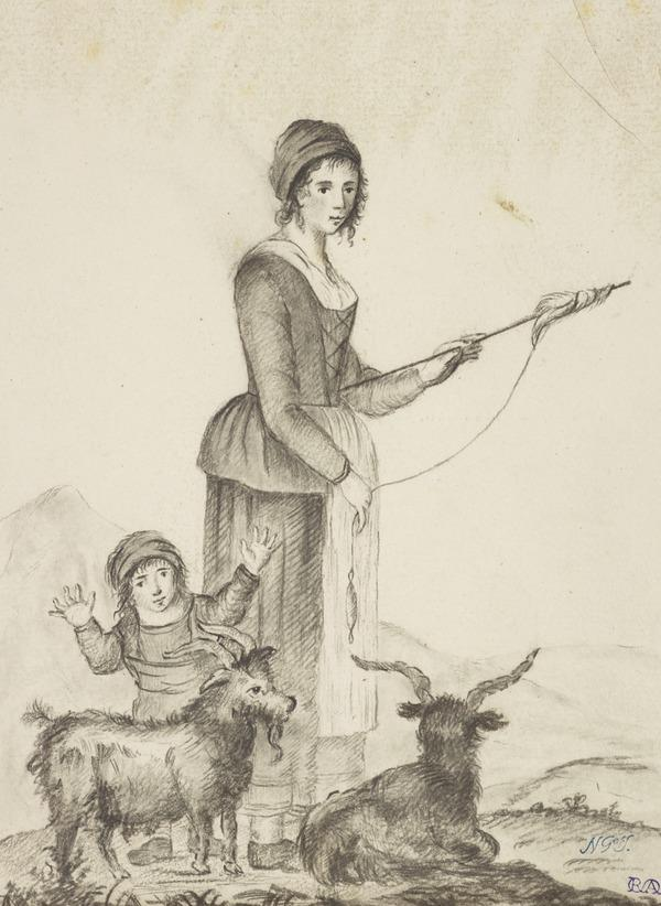 A Girl Holding a Distaff with a Child and Two Goats (About 1790)
