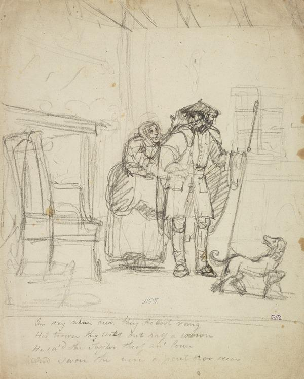 Illustration to the Poem 'Tak Your Auld Cloak About Ye. A Shepherd, his Wife and a Dog (About 1790)