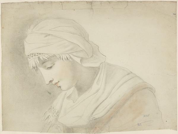 Head of a Woman Wearing a Cap and Shawl (possibly Shirley Welsh, the Artist's Wife) (About 1760)