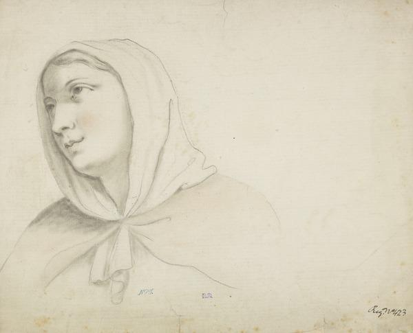 Head of a Woman Wearing a Head Scarf (possibly Shirley Welsh, the Artist's Wife) (About 1760)