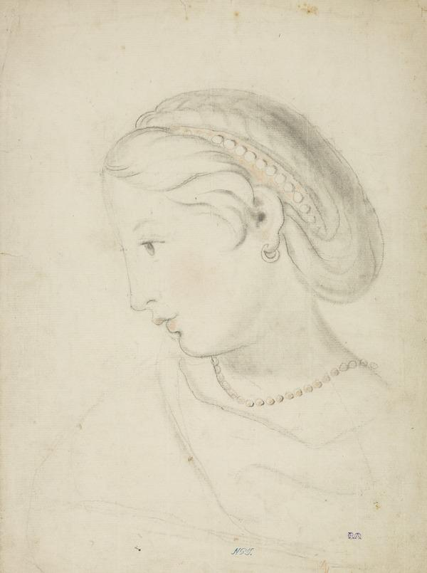 Head of a Woman Wearing a Bandeau and Necklace (possibly Shirley Welsh, the Artist's Wife) (About 1760)